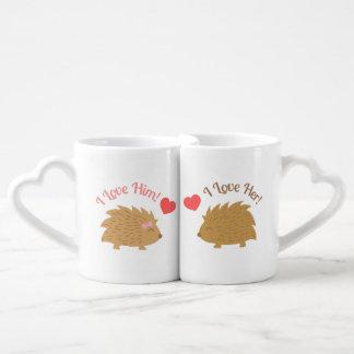 Cute Hedgehog couple in Love Couples' Coffee Mug Set