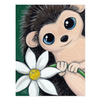 Cute Hedgehog Holding Flower Postcard