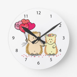 Cute hedgehogs with balloons, newly married couple wall clock