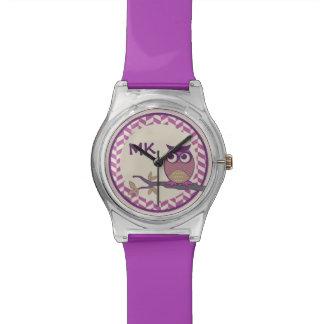 Cute Herringbone Owl Trendy Orchid Purple Moon Watch