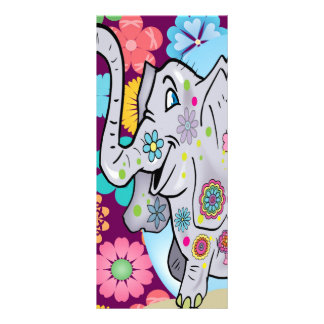 Cute Hippie Elephant with Colorful Flowers Rack Card