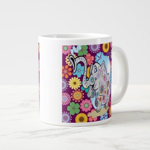 Cute Hippie Elephant with Colorful Flowers Jumbo Mugs