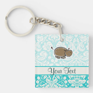 Cute Hippo; Teal Key Ring