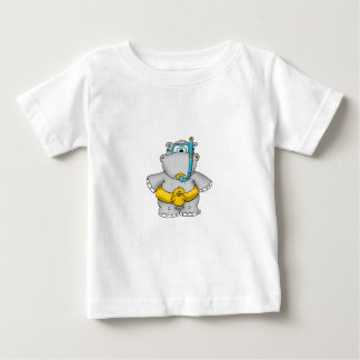 Cute Hippo with a Floating Tire and googles Baby T-Shirt