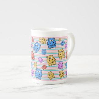 Cute Hippos Colorful Zoo Animal Theme for Children Bone China Mug
