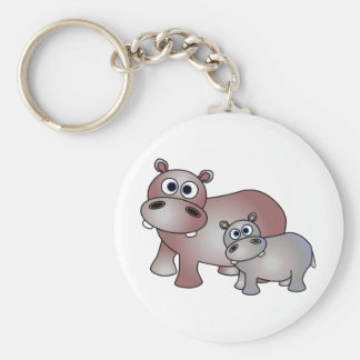 Cute Hippos Mom and Baby Key Ring