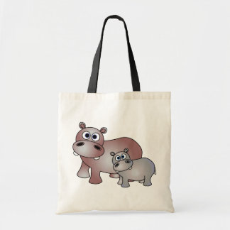 Cute Hippos Mom and Baby Tote Bag