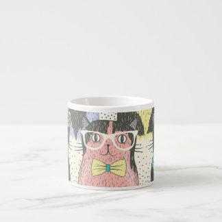 Cute Hipster Cats Pattern Espresso Mug