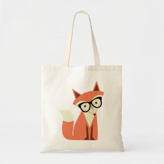 Cute Hipster Fox Budget Tote Bag