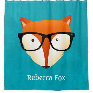 Cute Hipster Red Fox Monogram Name Shower Curtain