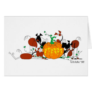 Cute Horse Herd with Carved Pumpkin Greeting Card