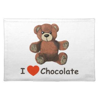 Cute I Heart (Love) Chocolate Teddy Bear Place Mats