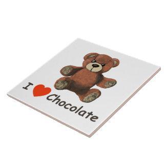 Cute I Heart (Love) Chocolate Teddy Bear Tiles