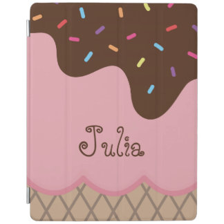 Cute Ice Cream Close-Up with Custom Text iPad Cover