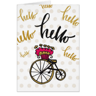 """Cute Illustrated """"Hello"""" Greeting Card"""
