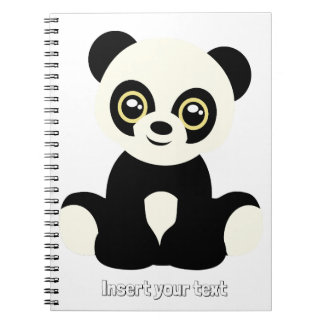 Cute illustrated panda spiral notebook