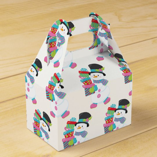 Cute Illustrated Snowman Holding Stack of Wrapped Favour Box