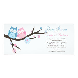Cute in love Owl Couple Baby Shower 10 Cm X 24 Cm Invitation Card