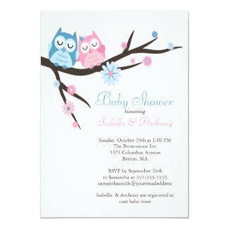 """Cute in love Owl Couple Baby Shower 5"""" X 7"""" Invitation Card"""