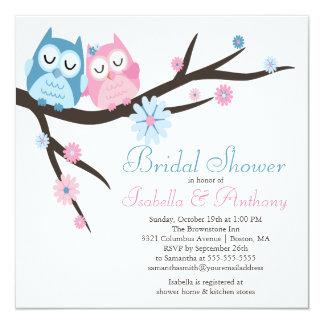 Cute in love Owl Couple Bridal Shower 13 Cm X 13 Cm Square Invitation Card