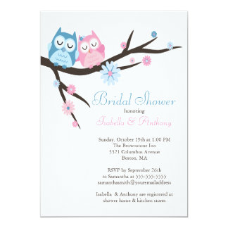 Cute in love Owl Couple Bridal Shower Custom Announcement