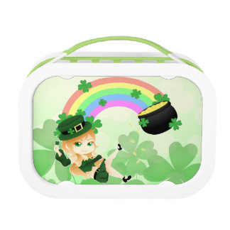 Cute Irish chibi leprechaun girl with pot of gold Lunch Box