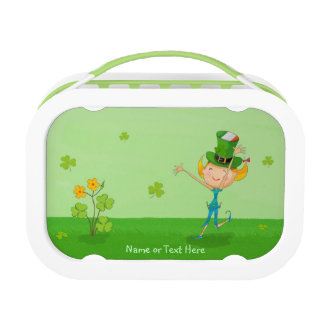 Cute Irish Girl Leprechaun Hat & Shamrock Clovers Lunch Box