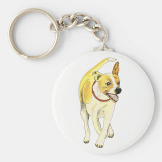Cute Jack Russell Funny Watercolour Dog Art Design Key Ring