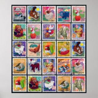 Cute Japan Year of Animal Stamp Pattern Poster
