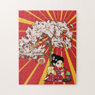 cute Japanese Inspired art Jigsaw Puzzle