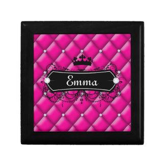 Cute jewellery box pink custom name crown princess