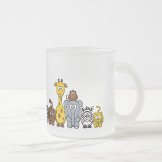 CUTE JUNGLE ANIMALS ADD YOUR TEXT FROSTED GLASS MUG