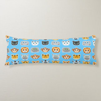 Cute Jungle Animals Pattern Blue Body Cushion