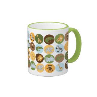 Cute jungle animals pattern ringer mug