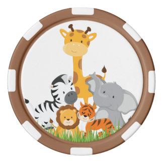 Cute Jungle Baby Animals Poker Chips