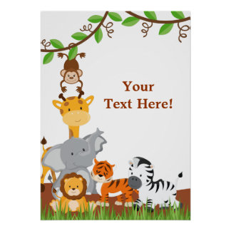 Cute Jungle Baby Animals Poster