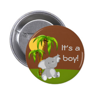 Cute Jungle Baby Elephant Baby Shower Button