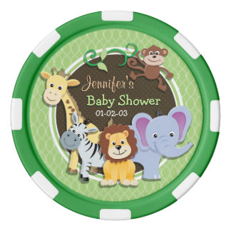 Cute Jungle Baby Shower; Bright Green Ovals Poker Chips