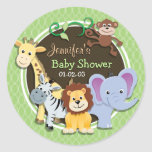 Cute Jungle Baby Shower; Bright Green Ovals Round Stickers