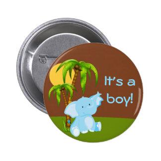 Cute Jungle Elephant Boy Baby Shower Button