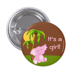 Cute Jungle Elephant Girl Baby Shower Button