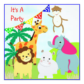 Cute Jungle Safari Animals Themed Party Invitation