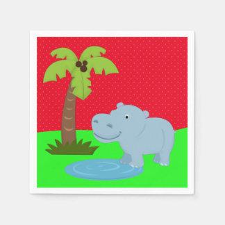 Cute jungle safari hippo paper napkin