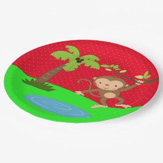 Cute jungle safari monkey paper plate