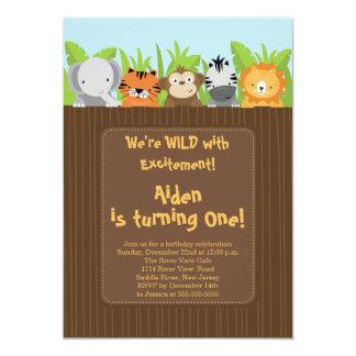Cute Jungle Safari Zoo Animals Kids Birthday Custom Invites