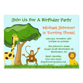 Cute Jungle Zoo Animals Grass Boy s Birthday Party Invitations