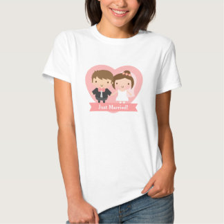 Cute Just Married Bride and Groom Couple T Shirt