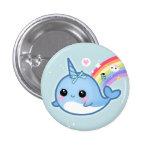 Cute kawaii baby narwhal with rainbow 3 cm round badge