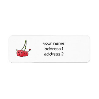 Cute kawaii cherries return address labels