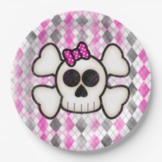 Cute Kawaii Emo Skull and Crossbones on Argyle Paper Plate